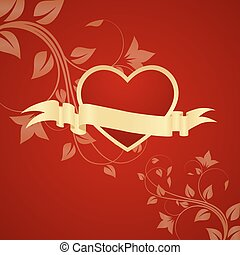 Red heart with floral decoration. Vector illustration.