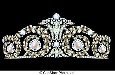 Diamond tiara - Vintage golden tiara with diamonds and...