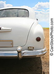 white car retro rear view close up