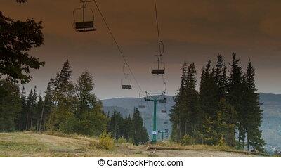 Ski lift in beautiful mountain landscape