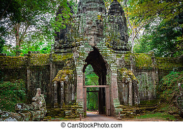 Ancient Khmer architecture. Amazing view of Bayon temple at...