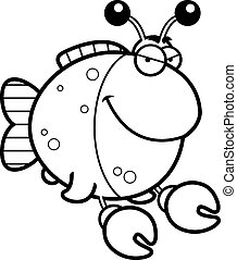 Sly Cartoon Imitation Crab - A cartoon illustration of a...