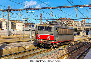 Electric locomotive passing the Montpellier station - France