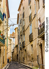 Street in the historic center of Beziers - France