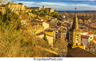 View of the lower town of Beziers from the Cathedral -...