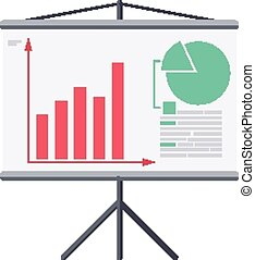 Infographic board screen with diagrams. - Isolated icon...