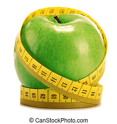 Composition with green apple and tape measure isolated on...