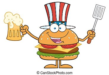 Happy American Hamburger Cartoon Character Holding A Beer...