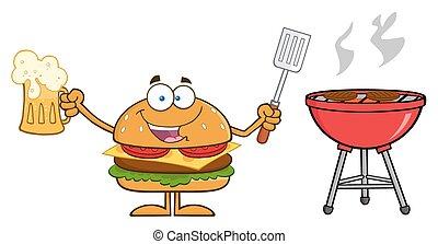 Happy Hamburger Holding A Beer - Happy Hamburger Cartoon...