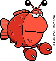 Bored Cartoon Imitation Crab - A cartoon illustration of a...