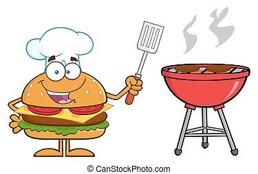 Chef Hamburger Cartoon Character Holding A Slotted Spatula...
