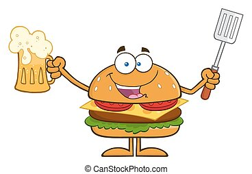 Happy Hamburger Cartoon Character Holding A Beer And Bbq...
