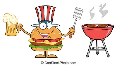 American Hamburger Character - American Hamburger Cartoon...