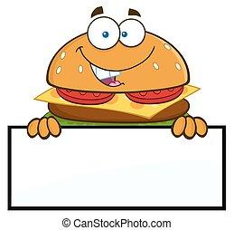 Hamburger Over A Blank Sign - Hamburger Cartoon Character...