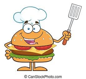 Chef Hamburger Character - Chef Hamburger Cartoon Character...