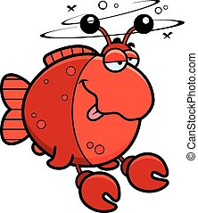 Cartoon Drunk Imitation Crab - A cartoon illustration of a...