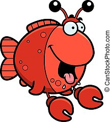 Hungry Cartoon Imitation Crab - A cartoon illustration of a...