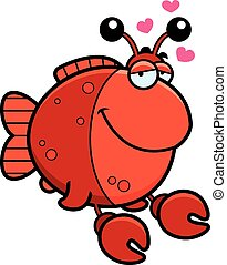 Cartoon Imitation Crab in Love - A cartoon illustration of a...