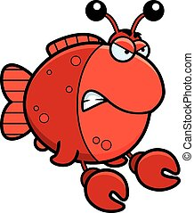 Angry Cartoon Imitation Crab - A cartoon illustration of a...