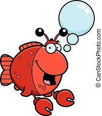 Talking Cartoon Imitation Crab - A cartoon illustration of a...