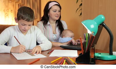 Mother with two children sitting at a table with a laptop at home