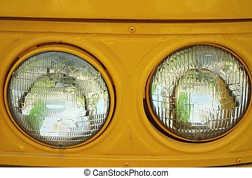 Old vintage car headlights.
