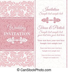 Baroque wedding invitation, pink and white