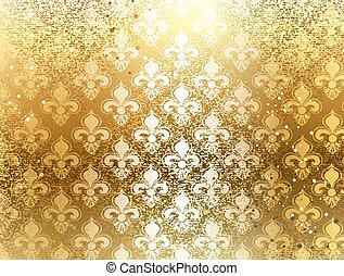 Brocade background - gold brocade background with ornament...