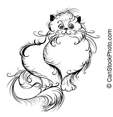 Stylized Persian Cat - artistically drawn, thin black lines...