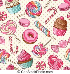 Lollipop pattern, yellow - Yummy colorful sweet lollipop...