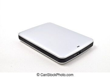 External Hard disk Shoot over white background Focus on the...
