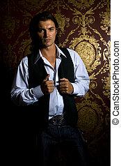 Male model in studio shot on luxury background