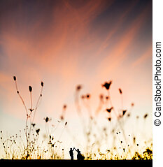 sunset dancing - wedding couple in love dancing on the field...