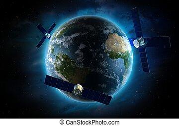 Orbiting Satellites Around the Earth. Global Satellite...