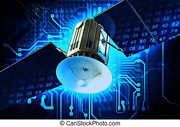 Satellite Technology Concept Illustration. Communication...