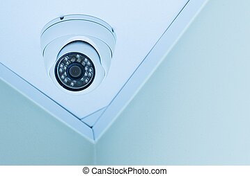 Closed Circuit Camera on the Ceiling. Small Infrared...