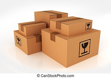 Shipping Boxes Pile Cardboard Boxes Isolated on White...