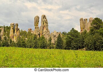 Chimney rock monoliths in Valley of the Monks, Creel, Mexico...