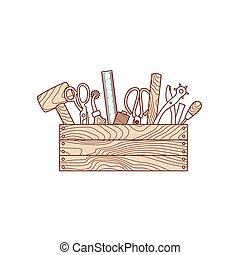 Craft tools in toolbox vector illustration on white...