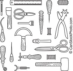 Leather working tools vector illustration - Gray Leather...