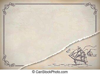 Vintage sailboat retro drawing