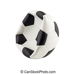Deflated soccer ball isolated on white background