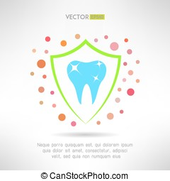 Tooth in a shield icon with bacteria around. Teeth protection concept symbol. Vector illustration