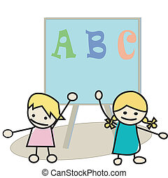 Happy little kids learning alphabet