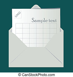 Open envelope with sheet for logo and sample text