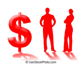 Business money - Businessman and businewoman with dollar as...