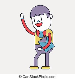 Character illustration design Businessman joyful cartoon