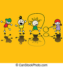 Kids playing games - Happy children playing games, vector...