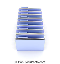 Folder row - 3D Illustration Isolated on white