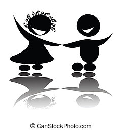Children holding hands,isolated vector silhouettes